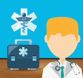 Doctor with stethoscope and briefcase with medicine symbol