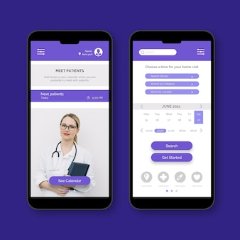 Doctor with stethoscope medical booking app