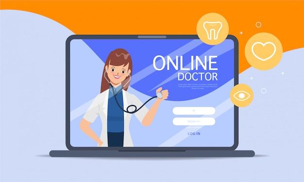 Врач со стетоскопом медицинское приложение для бронирования пользовательского интерфейса веб-дизайна.