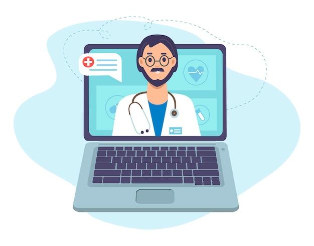 ノートパソコンの画面に聴診器を持った医師オンライン医療相談とオンラインサポート