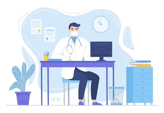 흰색으로 격리된 상세한 평면 스타일의 모니터가 있는 책상에 앉아 있는 청진기를 가진 의사