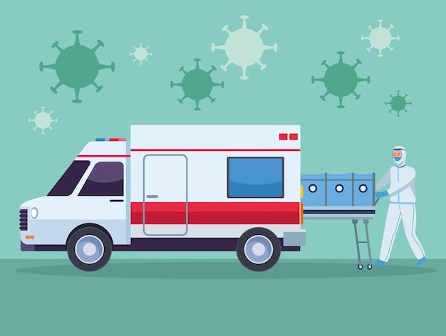 担架と救急車を持った医師