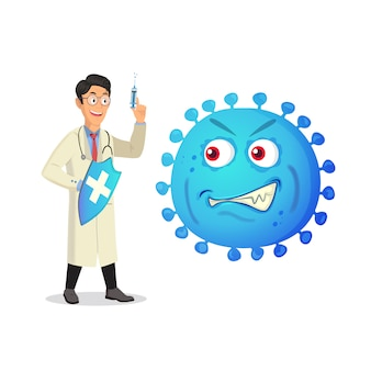 Doctor with a syringe and evil virus