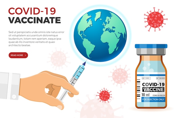 注射器を手にした医師が地球にワクチンを接種