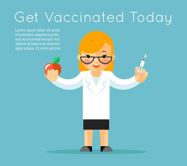 注射器を持つ医者。医療ワクチン接種の背景。ワクチンとケア、針注射、リンゴと薬。ベクトルイラスト