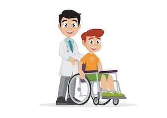 医師と車いすの患者。