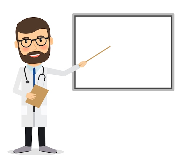 Doctor with whiteboard.