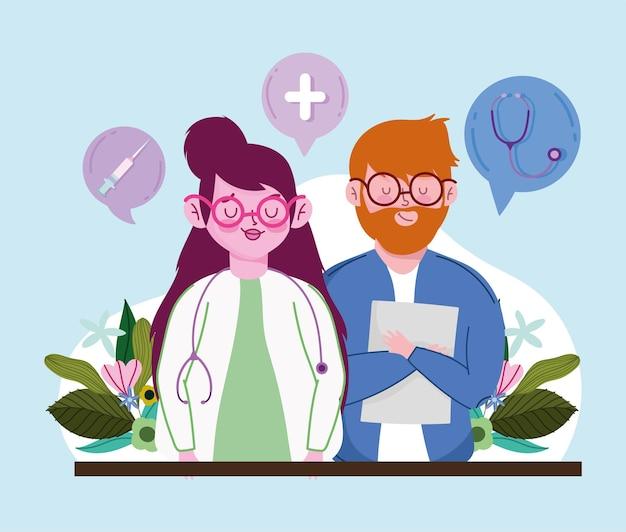 Женщина-врач и пациент