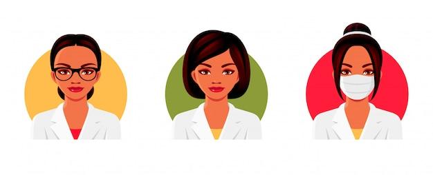 様々なヘアスタイル、メガネ、医療用フェイスマスクと白い医療服の医師の女性キャラクター。女性アバターセット。図。