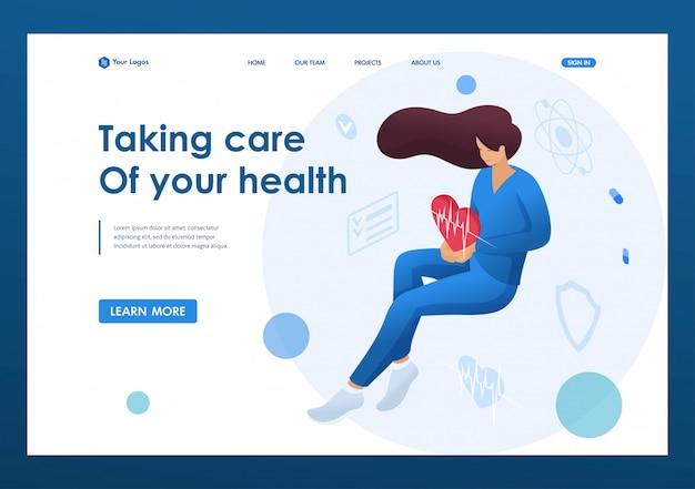 患者の健康についての世話を擬人化する鼓動を保持している医師の女性。医療コンセプト。リンク先ページの概念とwebデザイン
