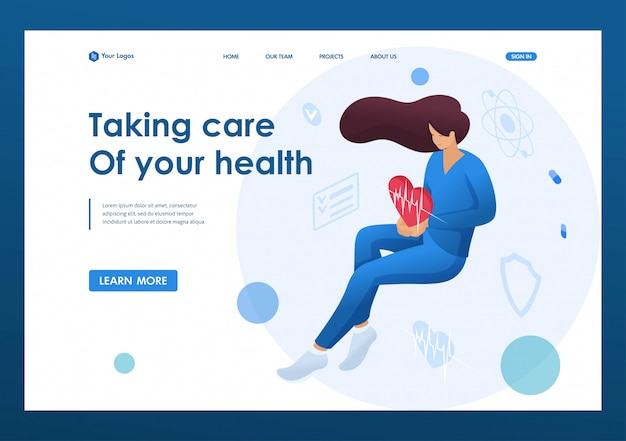 Doctor woman holding a beating heart personifying the care of about the health of the patient. health care concept. landing page concepts and web design