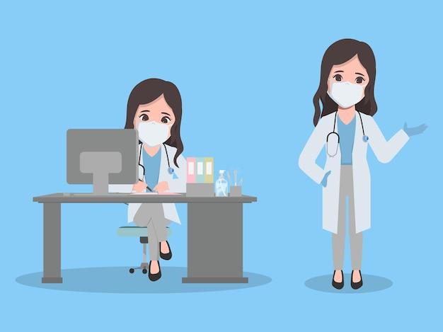 Женщина-врач в лаборатории, представляя позу анимации персонажей