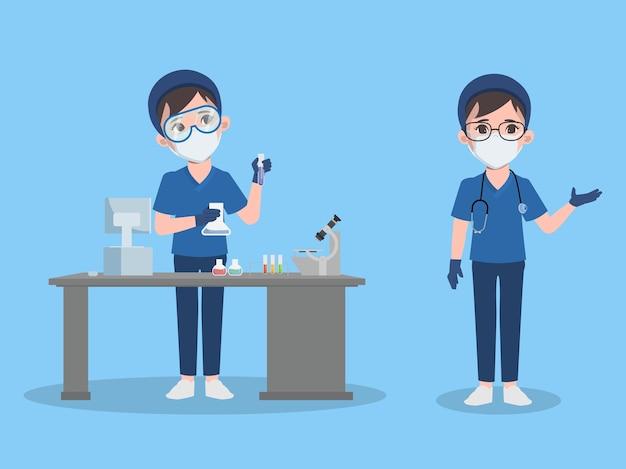 キャラクターアニメーションポーズを提示する実験室の医師の女性
