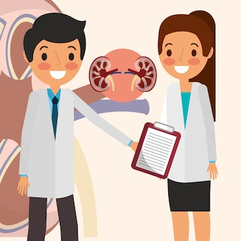 Doctor woman and man kidney awareness campaign