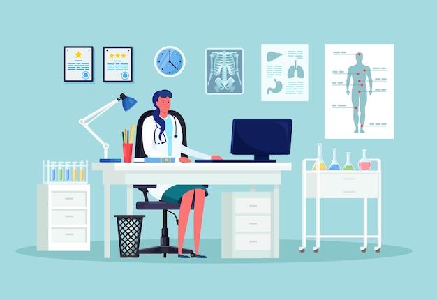 医師の女性は病院の診療所のテーブルに座っています。デスクで患者を待っている医師。