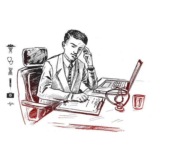 Doctor working on computer at his desk in medical office  hand drawn sketch vector illustration