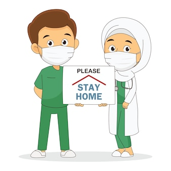 Doctor working in the hospital and fighting the coronavirus,please stay home