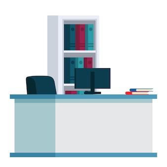 환자 카드 폴더와 리셉션 화이트 테이블 컴퓨터 선반에서 의사 직장 또는 간호사