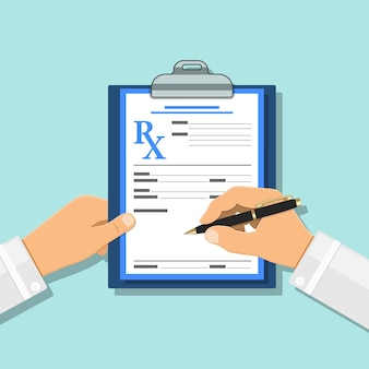 Doctor writes prescription with pen on rx form on clipboard. medical and healthcare concept. flat style icons. isolated vector illustration