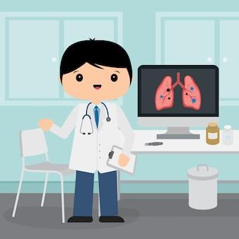 Доктор молодой человек, работающий в комнате в больнице. медицинская концепция в дизайне персонажа из мультфильма иллюстрации.