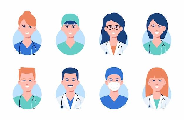 의료 마스크에 의사와 간호사 아바타. 의학 직원 얼굴의 집합입니다. 그룹 남성과 여성 포트폴리오 아바타 흰색 배경에 고립입니다. 삽화. 의료 개념입니다. 병원 직원