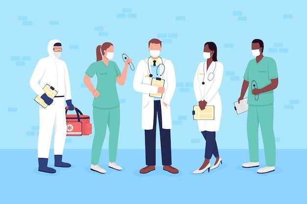 의료 마스크를 쓴 의사와 간호사는 평평한 색 벡터 얼굴 없는 문자 집합입니다. 웹 그래픽 디자인 및 애니메이션 컬렉션을 위한 필수 서비스 작업자 격리 만화 그림