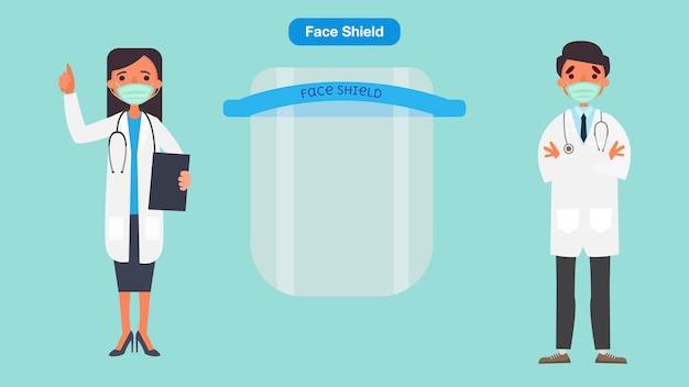 의사와 간호사는 의료 얼굴 마스크 또는 방패를 추천합니다. 코로나 바이러스 검역 개념입니다. 캐릭터 일러스트입니다.