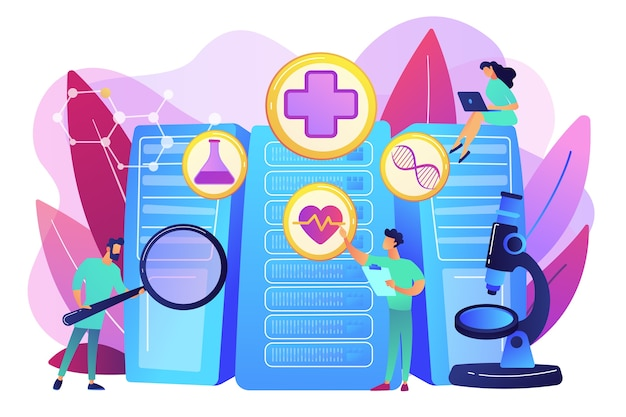 의사 및 개인화 된 처방 분석. 빅 데이터 의료, 개인화 된 의학, 빅 데이터 환자 관리, 예측 분석 개념. 밝고 활기찬 보라색 고립 된 그림