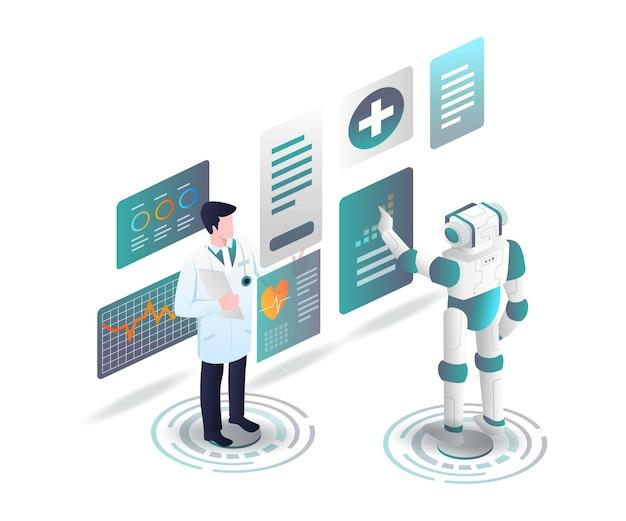 Врачи и роботы анализируют данные о здоровье Premium векторы