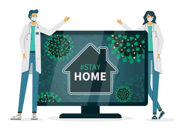 의사는 tv에 해시 태그를 표시하는 코로나 바이러스 감염 때문에 집에 머물도록 요구합니다