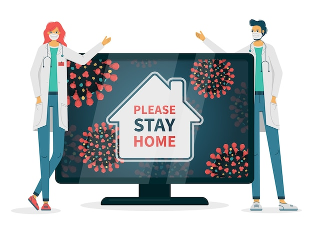 テレビにハッシュタグが表示されているコロナウイルス感染症のため、医師は家にいるように頼む