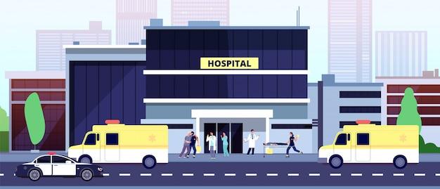 Врачи за работой. здание больницы, медработники и машины скорой помощи. медсестры помогают больным людям. скорая помощь и полиция авто, медицинская иллюстрация