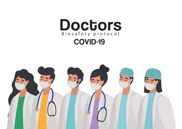 Doctors biosafety protocol covid 19 and set of doctors