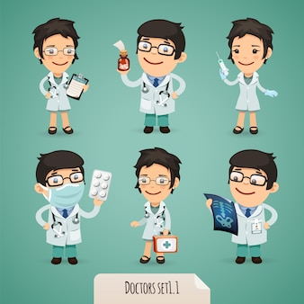 Doctors cartoon characters set