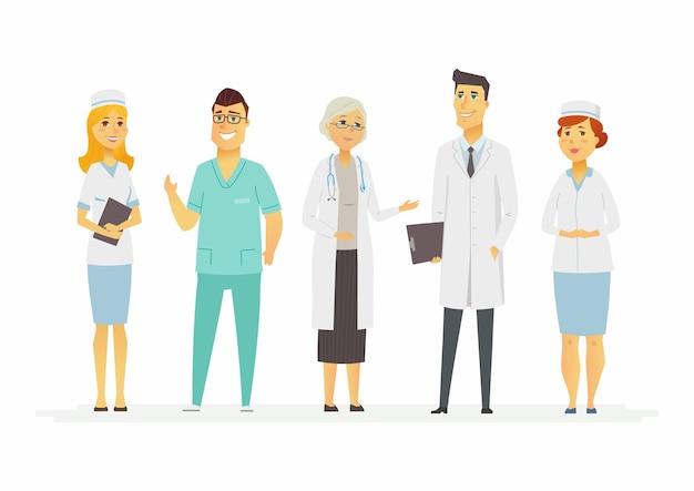 Врачи - персонажи мультфильмов люди изолированных иллюстрация на белом фоне. улыбающиеся медицинские работники в клинике: терапевт, хирург, медсестра, врач стоя, в комбинезоне