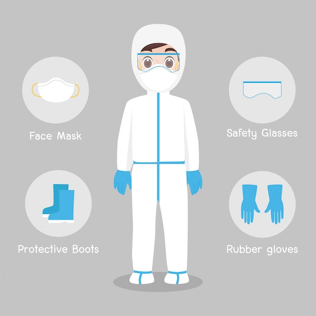 Doctors character wearing in full protective suit clothing isolated and safety equipment