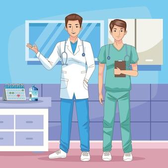 병원 장면 그림에서 백신과 의사 문자