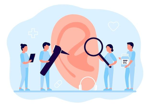 Doctors check health of ear, hearing organ. medical examination, test and treatment of ear, otolaryngology. ent checks loss hearing.