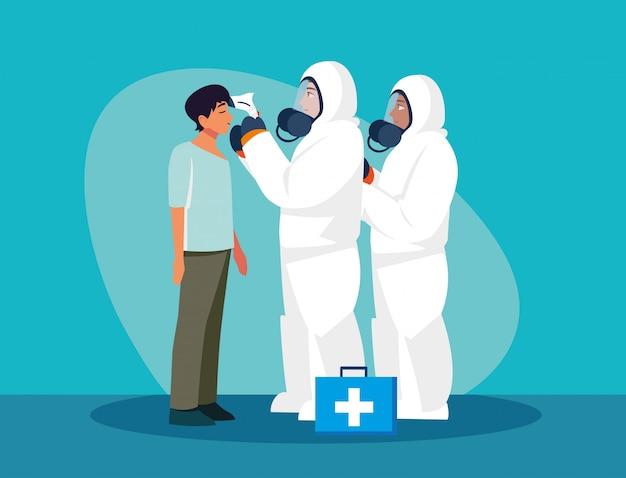 Doctors checking man temperature vector design