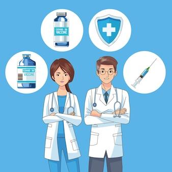 Врачи пара персонажей с иллюстрацией иконок вакцины
