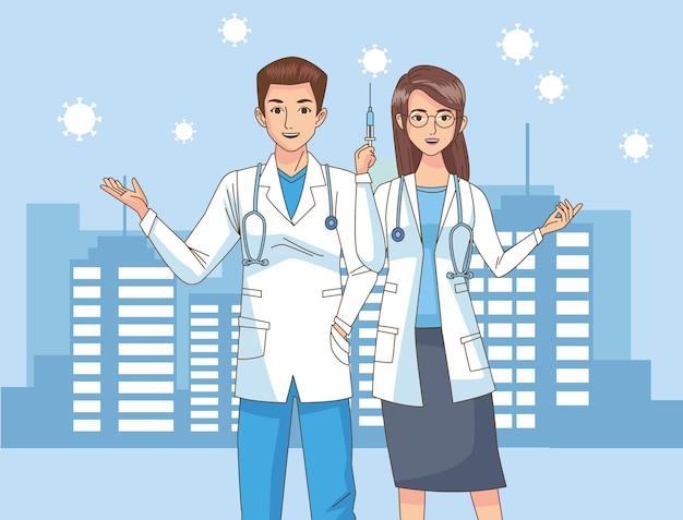 도시 그림에 백신 주사기와 의사 커플 문자