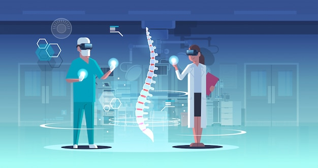 Doctors couple wearing digital glasses looking virtual reality spine human organ anatomy healthcare