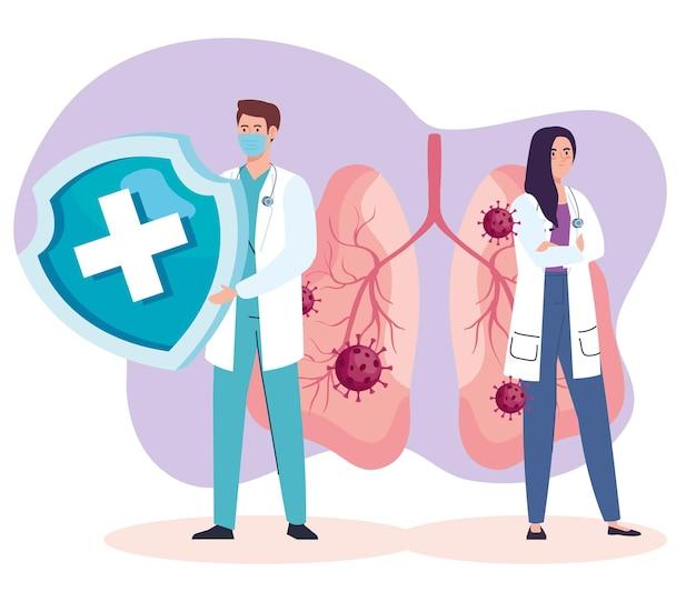 의사가 폐에있는 covid19 바이러스 입자와 커플