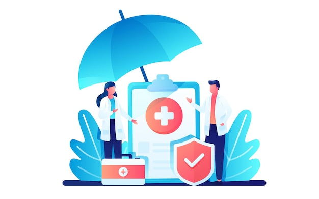 Doctors discussing health insurance policy   illustration