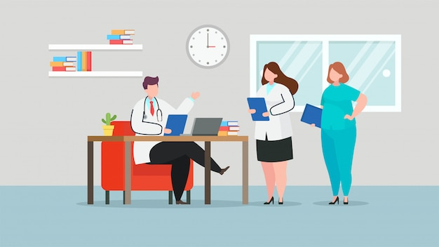 Doctors discussing in hospital room, vector flat illustration