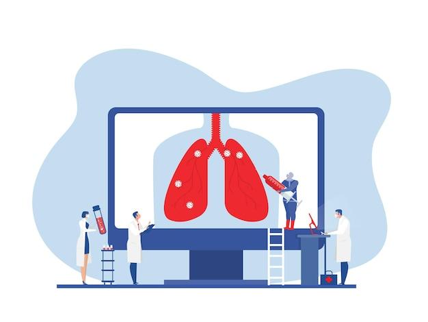 医師は肺検査を行いますcovid19コロナウイルスワクチン接種またはフラットベクターの研究