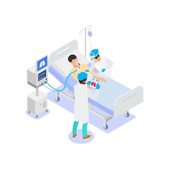 의사는 코로나 바이러스 환자의 폐 인공 호흡을 실시합니다