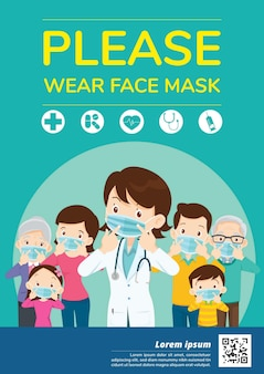 Doctors and family members dad, mom, girl, boy campaign please wear a face mask
