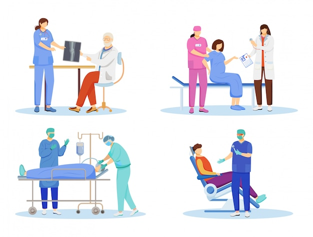 Doctors flat vector illustrations set. general practitioners, therapists, surgeons cartoon characters. resuscitation, first aid and surgical operation. dentist, orthopedic isolated on white