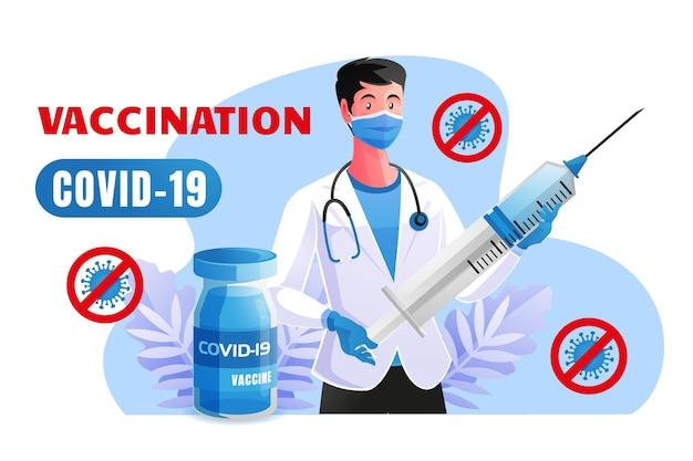 医師はcovid19から保護するために予防接種を行います